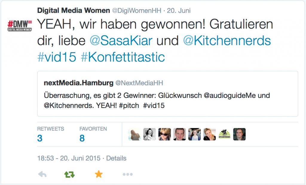Die Digital Media Women Hamburg freuen sich mit uns, dass Kitchennerds beim VOCER Innovation Day 2015 beim Pitch gewonnen hat.